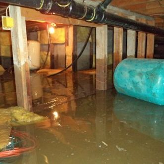 objects lying around in a flooded crawlspace